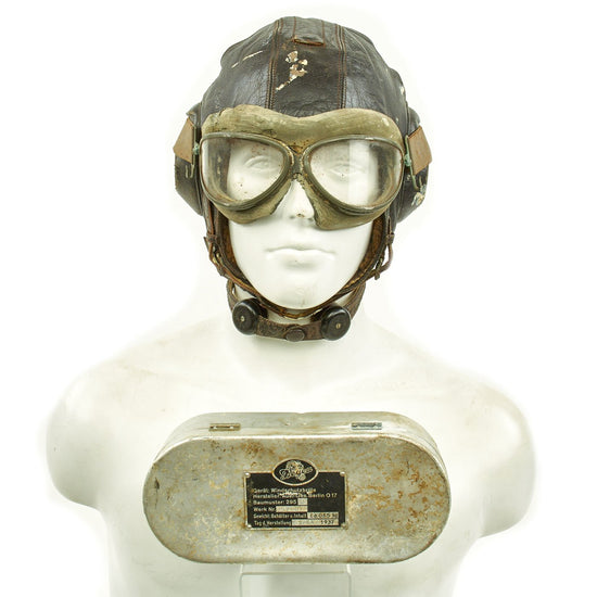 Original German WWII Luftwaffe LKpW101 Winter Flying Helmet with Type 295 Flight Goggles by Auer Original Items