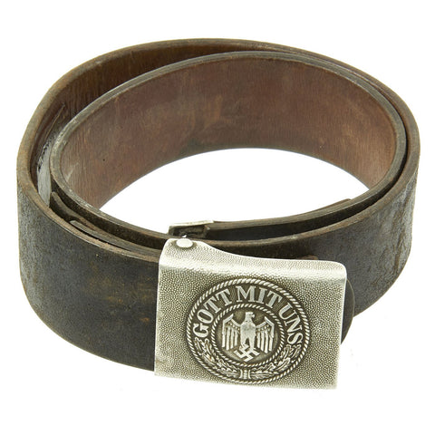 Original German WWII Wehrmacht Army Heer EM/NCO Belt with Pebbled Aluminum Buckle - dated 1936 & 1938 Original Items