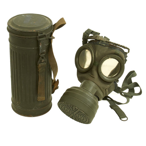 Original German WWII Early Issue M30 Size 2 Gas Mask with Filter & Can - dated 1930 Original Items