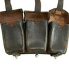 show larger image of product view 7 : Original German WWII Naval Black Leather Mauser 98k Triple Pouch with Kriegsmarine Marking - dated 1939 Original Items