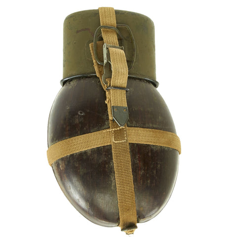 Original German WWII Afrikakorps Coconut Canteen by Heinrich Ritter with Cup and Harness - 1941 & 1943 Dated Original Items
