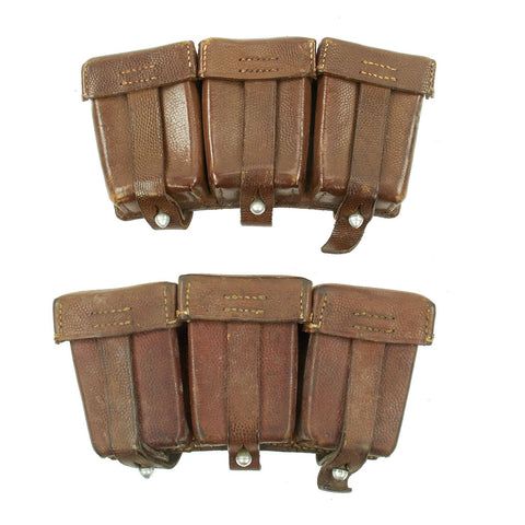 Original German WWII Set of Two Brown Leather Mauser 98k Triple Pouches - dated 1938 & 1939 Original Items