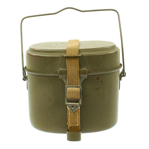 Original German WWII M31 Enameled Steel Mess Kit Kochgeschirr with Canvas Strap - Dated 1943 Original Items