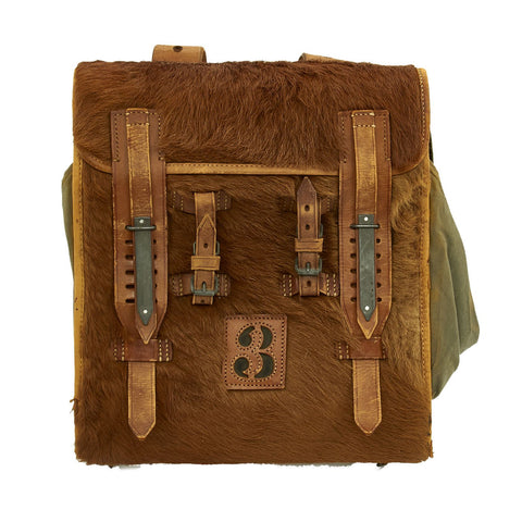 Original German WWII Radio Signalman #3 Fernsprechtornister Cowhide Backpack - Dated 1940 Original Items