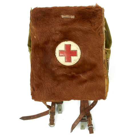 Original German WWII Medic Issue Tornister 34 Cowhide Backpack with Shoulder Straps - Dated 1938 Original Items