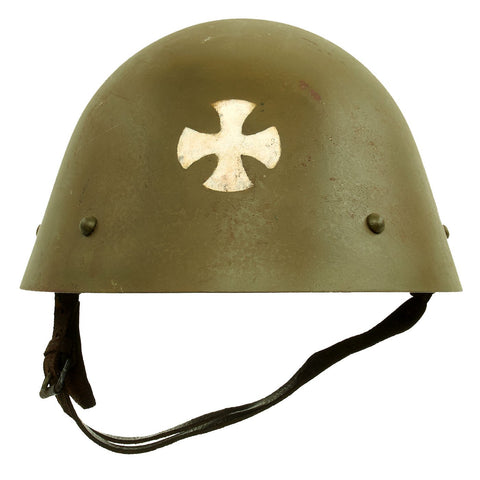 "Original Czechoslovakian WWII Vz32 / M32 ""Egg-Shell"" Steel Helmet repainted Post War Original Items"