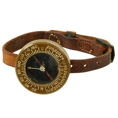 Original U.S. WWII Paratrooper Wrist Compass by Superior Magneto Corporation with Leather Wristband Original Items
