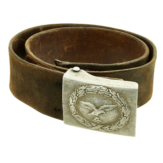 Original German WWII EM/NCO Luftwaffe Belt with 1938 Dated Aluminum Buckle by R. Sieper & Söhne Original Items