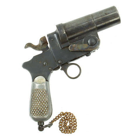 Original Italian WWII Model 1900 Flare Gun by Castelli of Brescia with Aluminum Grips - dated 1940 Original Items