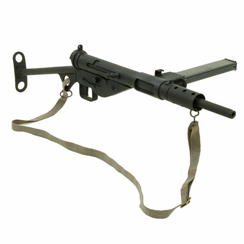 Original British WWII Sten MkII Display Submachine Gun with Magazine and 1952 R.A.F. Sling Original Items