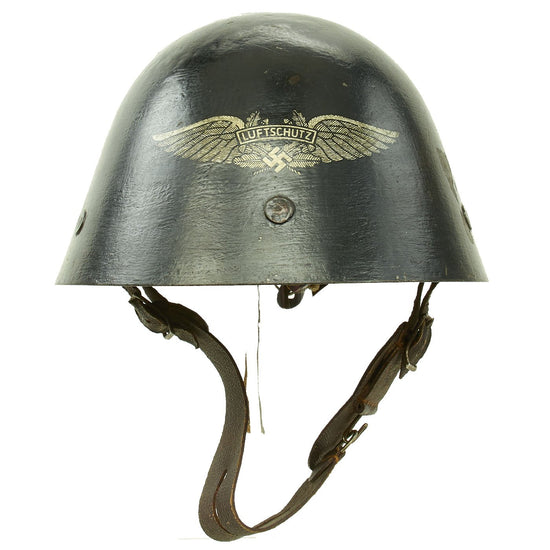 "Original Czechoslovakian WWII Vz32 / M32 ""Egg-Shell"" Helmet Reissued for German Luftschutz Use Original Items"