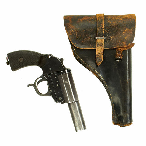 Original German WWII Leuchtpistole 34 Heer Signal Flare Pistol by Walther with Holster - Dated 1943 Original Items