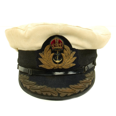 Original British WWII Royal Navy Officers Visor Cap by William Forsythe with Oak Leaves & White Cover Original Items