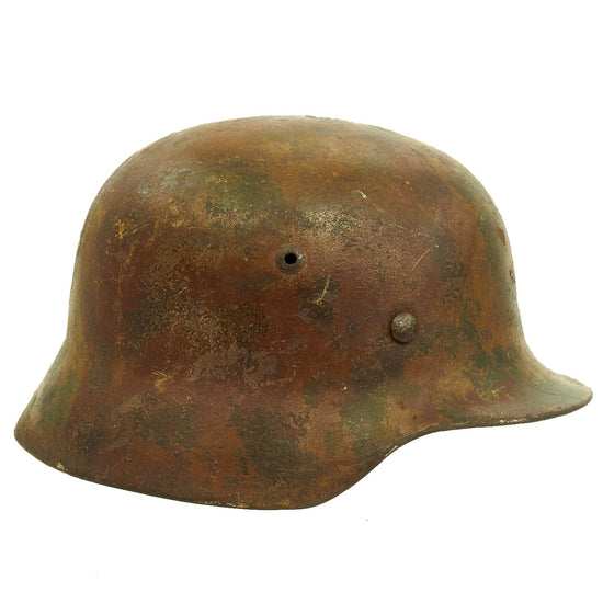 Original German WWII M35 Normandy Camouflage Painted Battlefield Pickup Helmet - Stamped NS62 Original Items