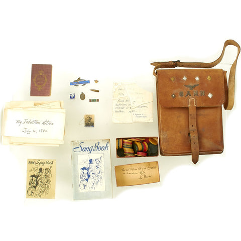 Original U.S. WWII Named Bring Back Grouping - Tile from Hitler's Berghof Retreat, Poker Chips & More in Shoulder Case Original Items