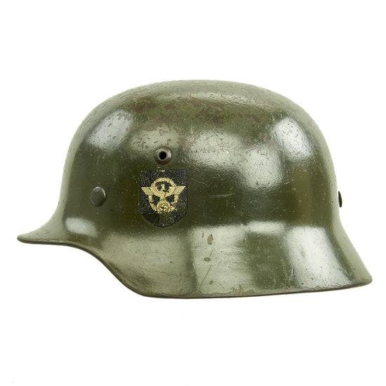 Original German WWII Double Decal NSDAP Civic Police M35 Steel Combat Helmet - marked ET62 Original Items