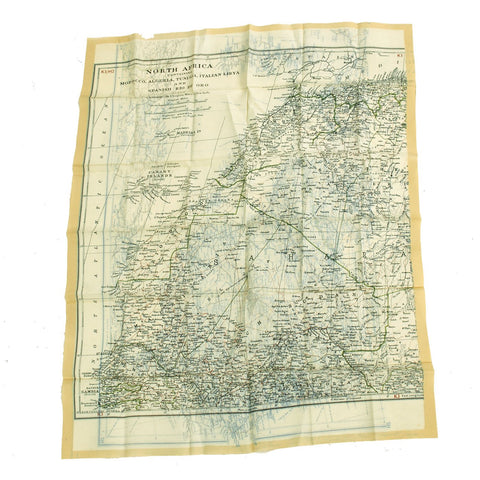 Original British WWII Royal Air Force Air Ministry K3/H2 Silk Escape Map of Spain and North Africa Original Items