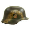 show larger image of product view 2 : Original German WWII Luftwaffe Double Decal Normandy Camouflage M35 Helmet - SE64 Original Items