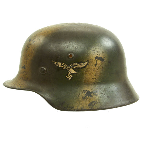 Original German WWII Luftwaffe Double Decal Normandy Camouflage M35 Helmet - SE64 Original Items