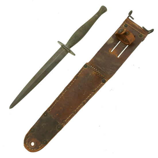 Original U.S. WWII USMC Marine Raider Stiletto Dagger with Repaired Tip by Camillus with M6 Scabbard Original Items