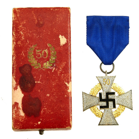 Original German WWII 50 Year Civil Service Faithful Service Medal in Case Original Items