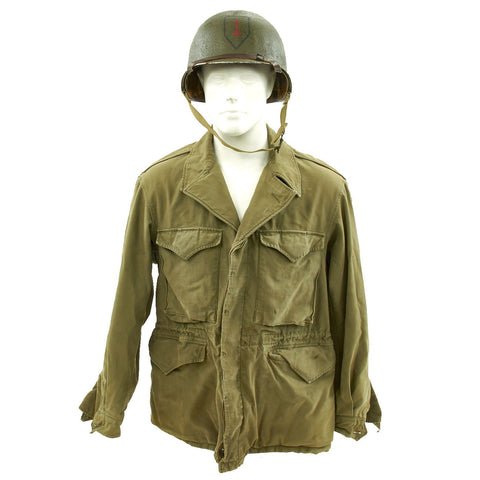 Original U.S. WWII 1st Infantry Div. 1943 M1 McCord Fixed Bale Helmet & M1943 Field Jacket  - The Big Red One Original Items