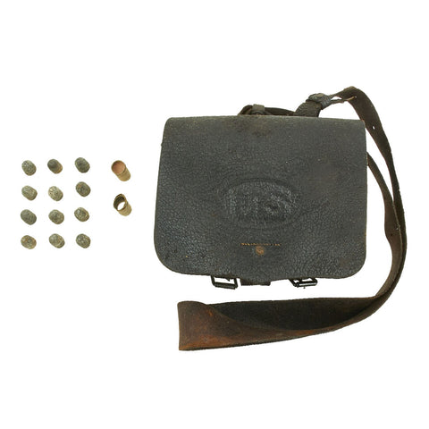 Original U.S. Civil War Federal Model 1864 Cartridge Box with .58 Caliber Minie Balls Original Items