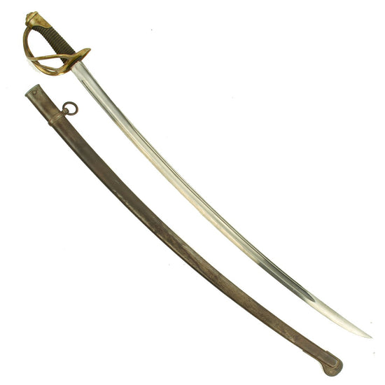 Original French Model 1822 Light Cavalry Saber Châtellerault with Scabbard - dated 1879 Original Items