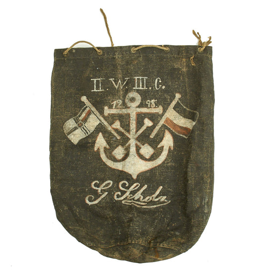 Original WWI Imperial German Navy Sailor's Named Painted Sea Bag Original Items