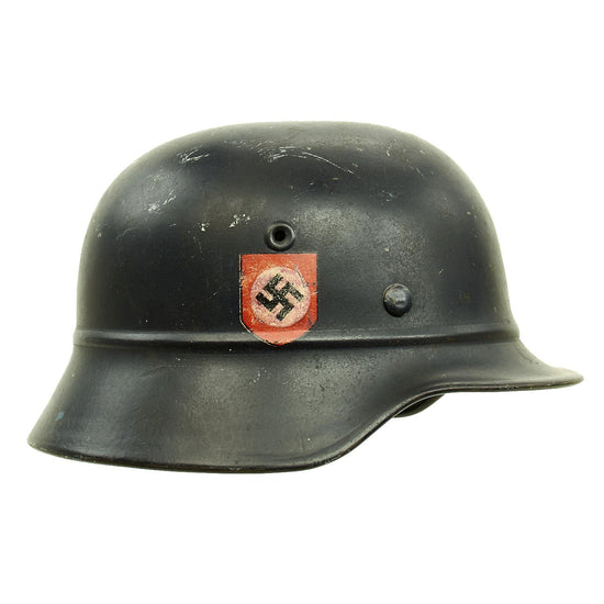 Original German WWII Beaded M40 NSDAP Double Decal Civic Police Steel Helmet - NS62 Original Items