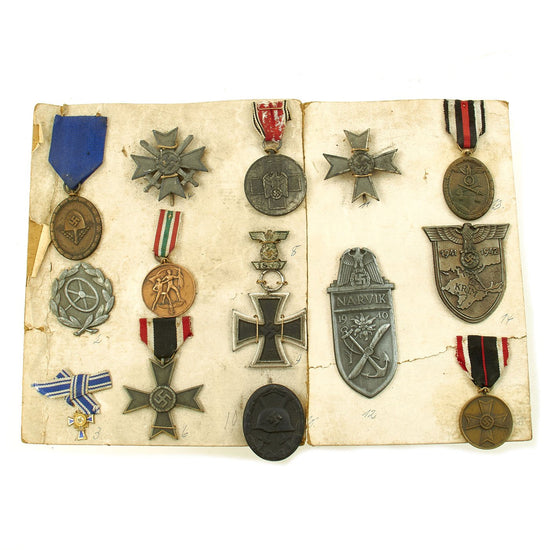 Original German WWII Factory Salesman Medals and Awards Sample Set on Display Board Original Items