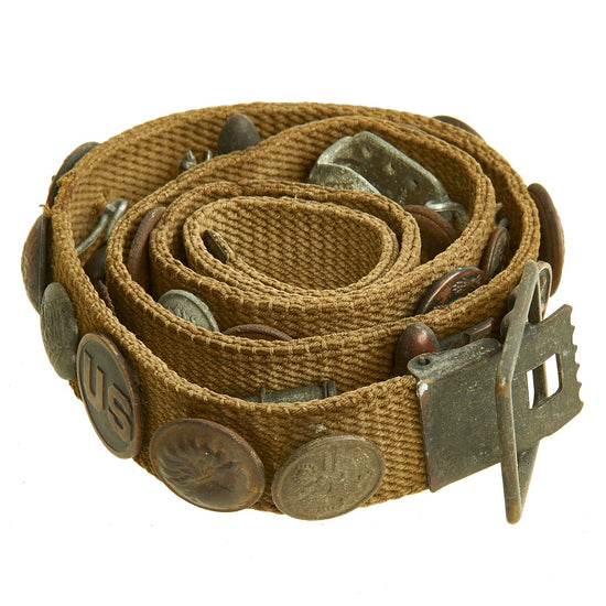 Original U.S. WWI Hate Belt made from U.S. Trouser Belt with 29 Attached Items Original Items