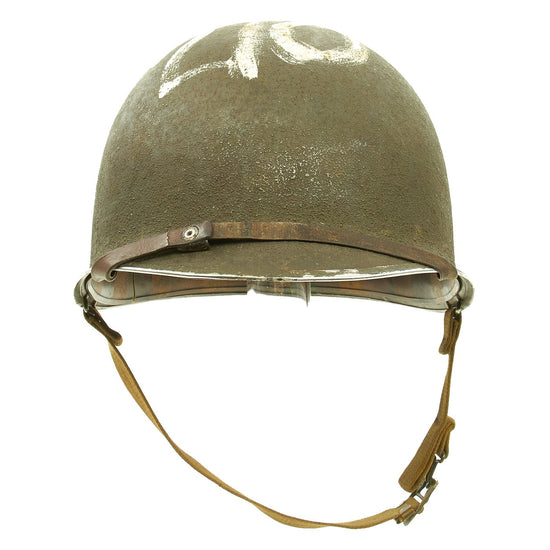 Original U.S. WWII Very Early 1942 McCord Front Seam Fixed Bale M1 Helmet with MSA Liner Original Items