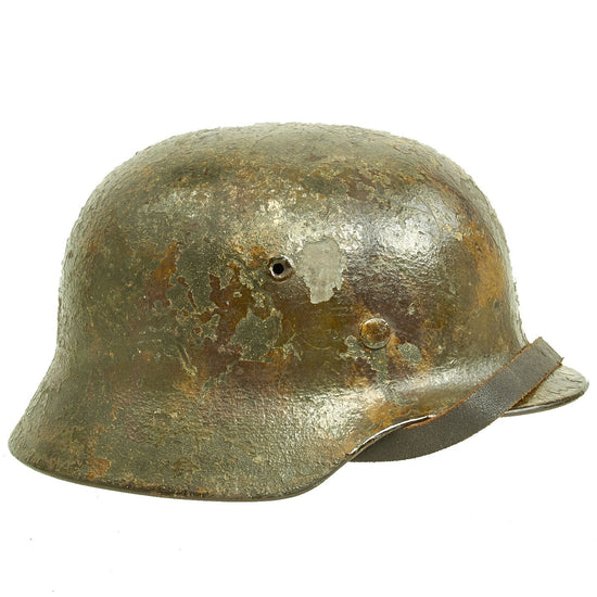 Original German WWII Lacquered Camouflage M40 Helmet with 57cm Liner & Chinstrap - Marked NS64 Original Items