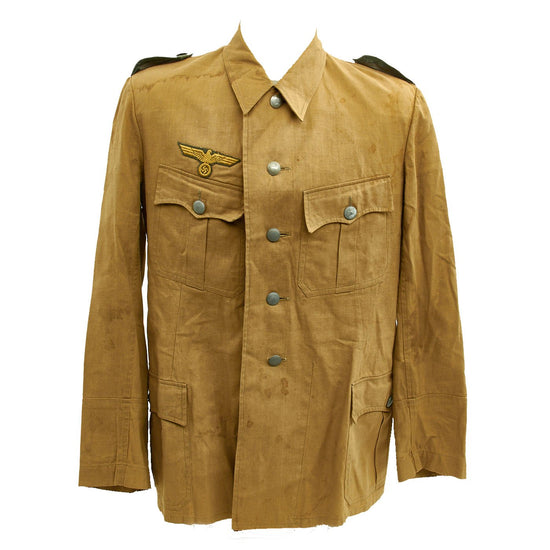 Original German WWII M42 Kriegsgmarine Coastal Artillery Khaki Herringbone Twill Artilleristmaat Uniform Jacket Original Items