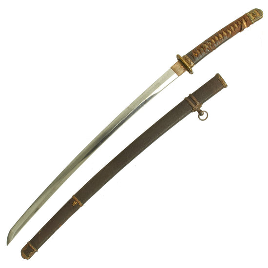 Original WWII Japanese Type 98 Shin-Gunto Katana Sword with Handmade Blade & Textured Scabbard Original Items