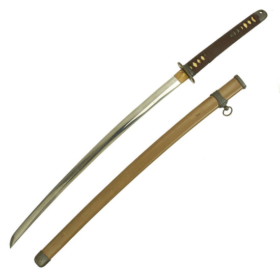 Original WWII Japanese Army Officer P-1944 Shin-Gunto Katana Sword by HIROMITSU - Dated 1945 Original Items