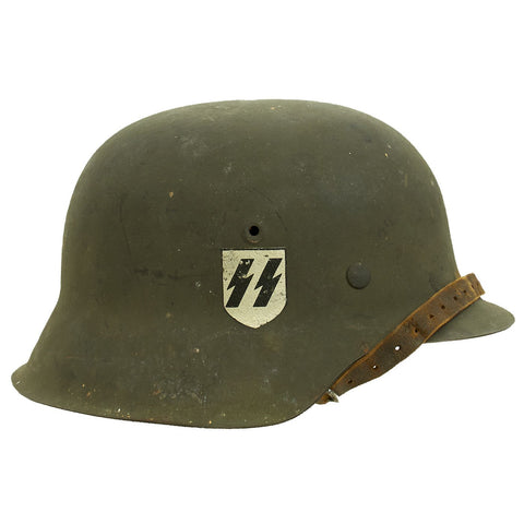 Original German WWII M42 Single Decal SS Helmet by Emaillierwerke AG with Liner & Chinstrap - 66cm Shell Original Items