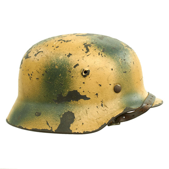 Original German WWII Heer Tan & Green Camouflage M40 Helmet with 59cm Liner - Marked Q66 Original Items