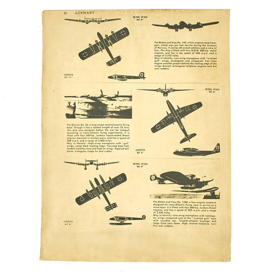 Original British WWII RAF German Aircraft Identification Poster - Blohm and Voss - Dornier Original Items