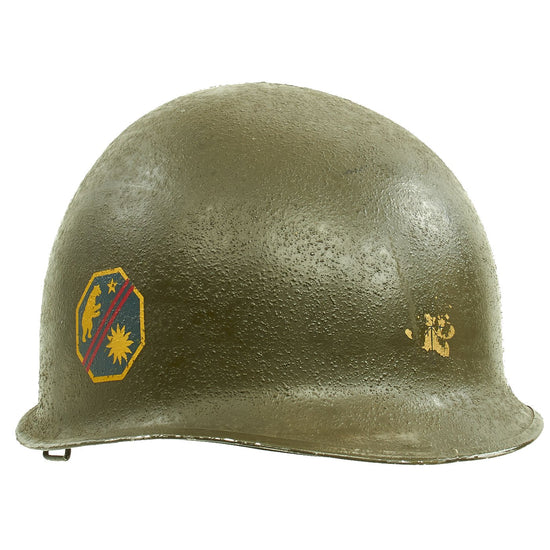 Original U.S. WWII Named 1942 M1 McCord Fixed Bale Helmet with Firestone Liner & Unit Insignia Original Items