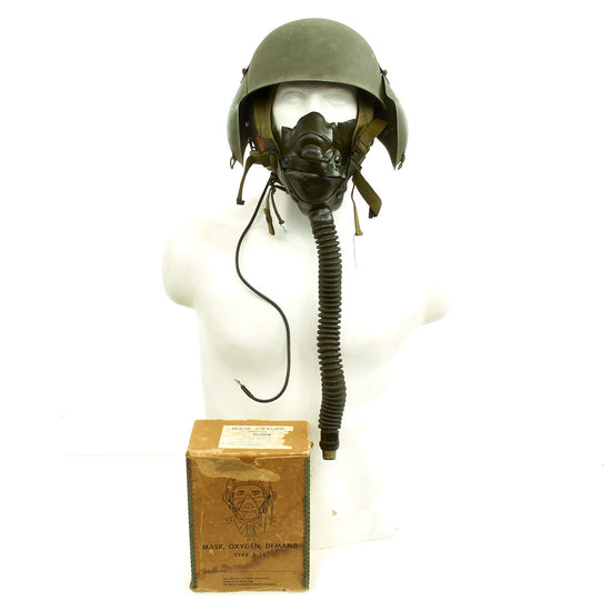 Original U.S. WWII USAAF Bomber Crew M3 Steel FLAK Helmet with A-14 Oxygen Mask and Inner Flight Helmet Original Items