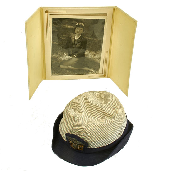 Original U.S. Navy WWII WAVES Named Officer Service Cap with Photograph Original Items