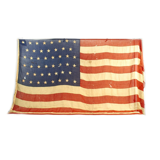 "Original U.S. Pre-WWI 46 Star Wool & Canvas National Flag with Halyard - 84"" x 140"" Original Items"