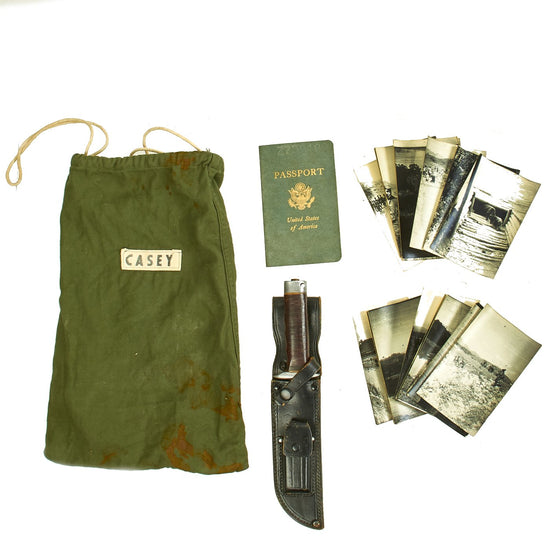 Original U.S. Vietnam War Named 5th Special Forces Group Fighting Knife with Photos and 1967 Passport Original Items
