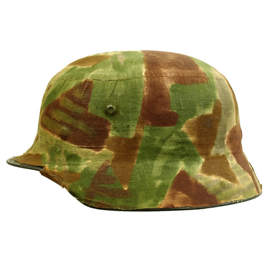 Original German WWII Named Custom Fabric Camouflage M35 Helmet with Liner and Chinstrap - Q64 Original Items