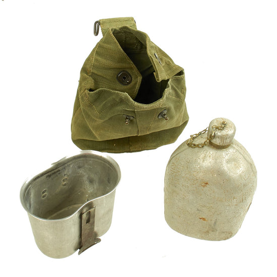 Original U.S. WWI M1910 Canteen Marked with Many Locations with WWII Cup in British Carrier Original Items