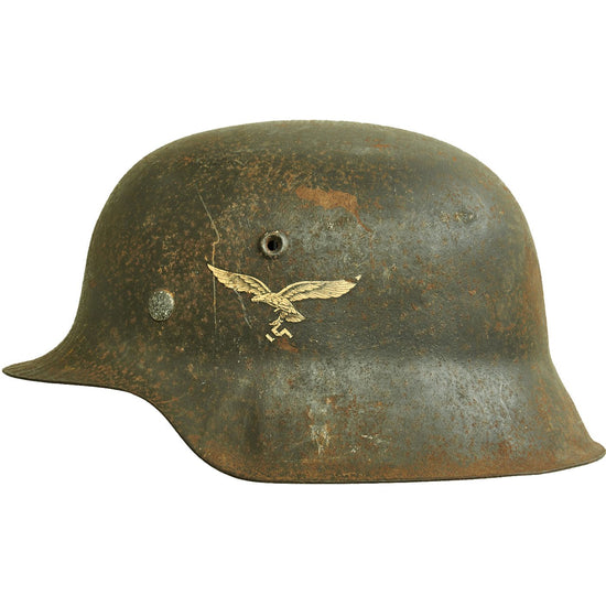 Original German WWII M42 Single Decal Luftwaffe Helmet Shell with Partial Liner - ET66 Original Items