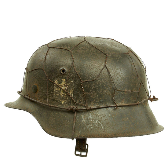 Original German WWII Army Heer M42 Single Decal Chicken Wire Steel Helmet - marked ET64 Original Items