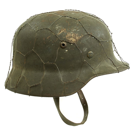 Original German WWII Army Heer M35 Steel Helmet with Post War Chicken Wire - Stamped Q64 Original Items
